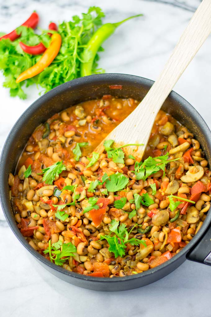 Family meal ready Charro Beans without meat.