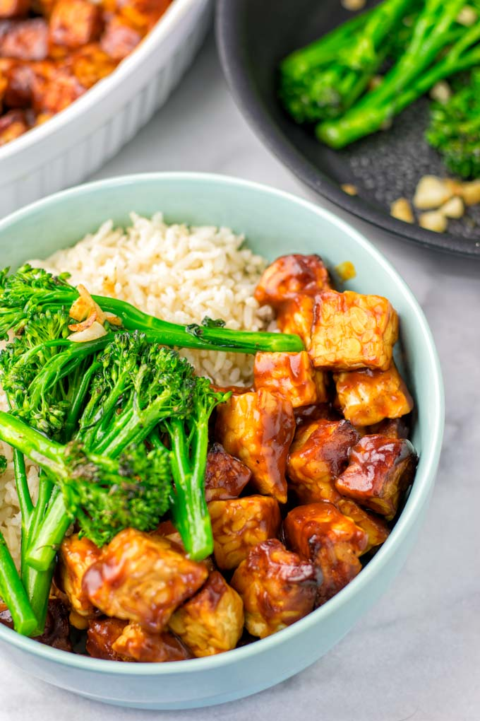 The BBQ Tempeh Rice Bowl is a great family dinner.