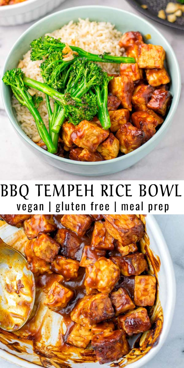 This BBQ Tempeh Rice Bowl is super easy to make and ready in 20 minutes! It is a keeper for any meal prep, dinner, lunch and naturally vegan. #vegan #dairyfree #glutenfree #vegetarian #mealprep #dinner #lunch #budgetmeals #bbqtempeh #ricebowl #contentednesscooking #20minutemeals