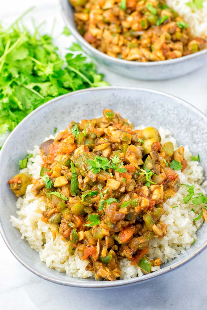This vegan picadillo recipe needs mushrooms, onions, bell pepper, raisins, and capers.