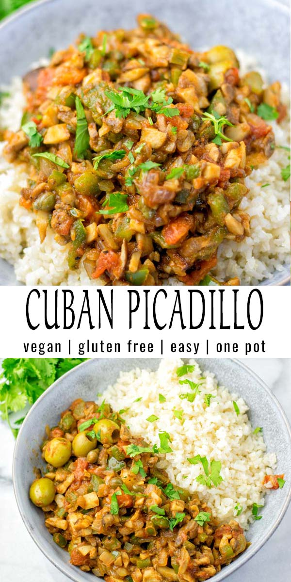 This Cuban Picadillo is super easy and made in one pot. Just 20 minutes and it is on the table. Packed with fantastic flavors that the whole family will love. Naturally vegan thanks to mushrooms as meat substitute, a keeper for dinner, meal prep, lunch and so much more. #vegan #glutenfree #vegetarian #dairyfree #onepotmeals #contentednesscooking #cubanopicadillo #budgetmeals #dinner #lunch #mealprep #budgetmeals #worklunchideas