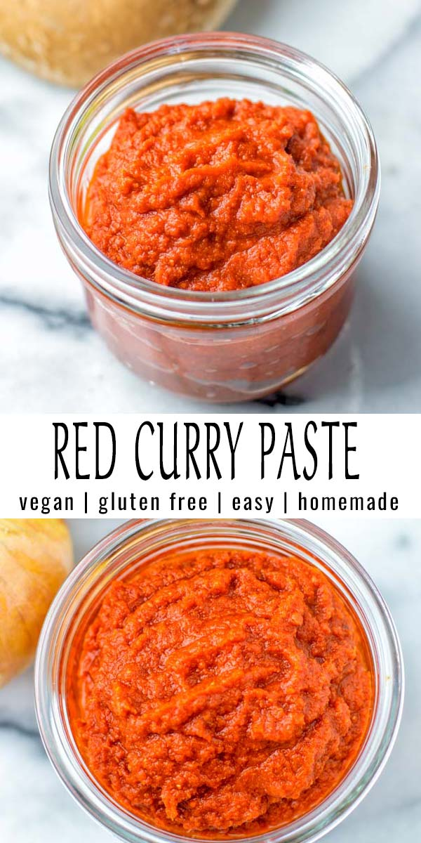 Easy and homemade: This Red Curry paste is naturally vegan, versatile and made with simple ingredients. Amazing for curries, stews, soups for dinner, lunch or meal prep. Also you will find a version without any food processor or blender. #vegan #dairyfree #glutenfree #condiment #vegetarian #curries #stews #soups #contentednesscooking #dinner #lunch #mealprep #redcurrypaste #homemade