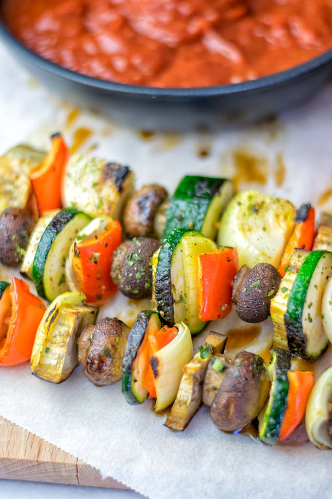 Imagine how good the sauce will taste with fresh vegetable skewers.