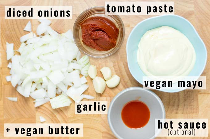 Ingredients for the Yum Yum Sauce.
