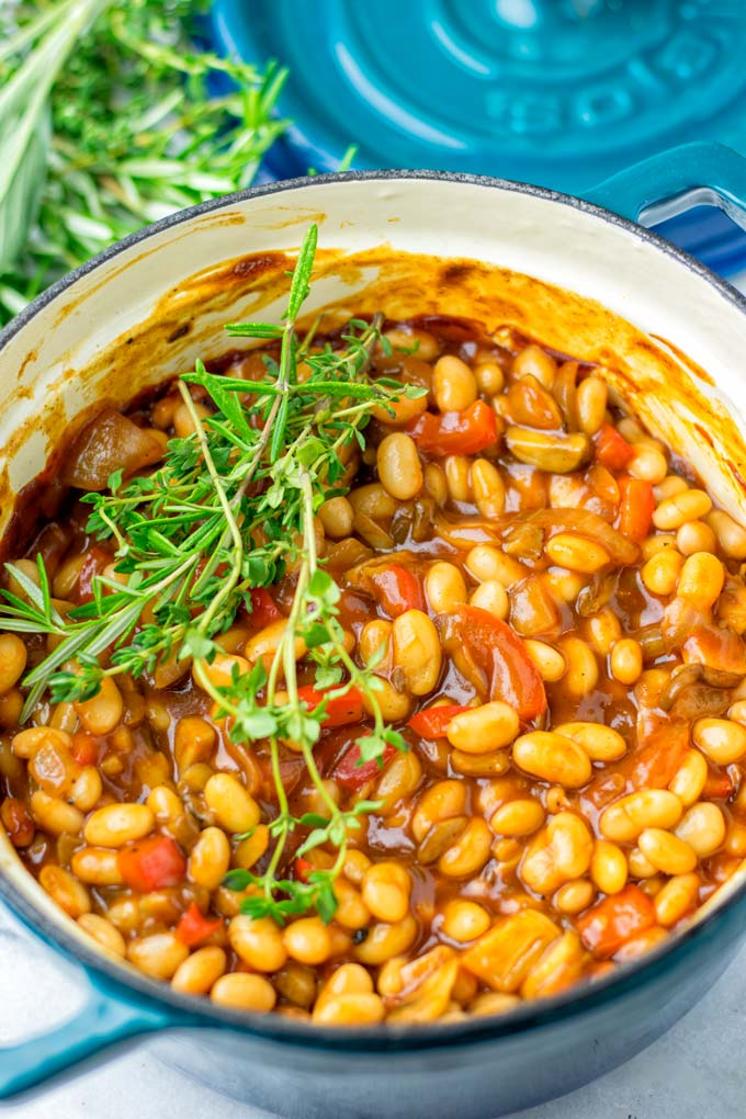 Fresh herbs top the Baked Beans.