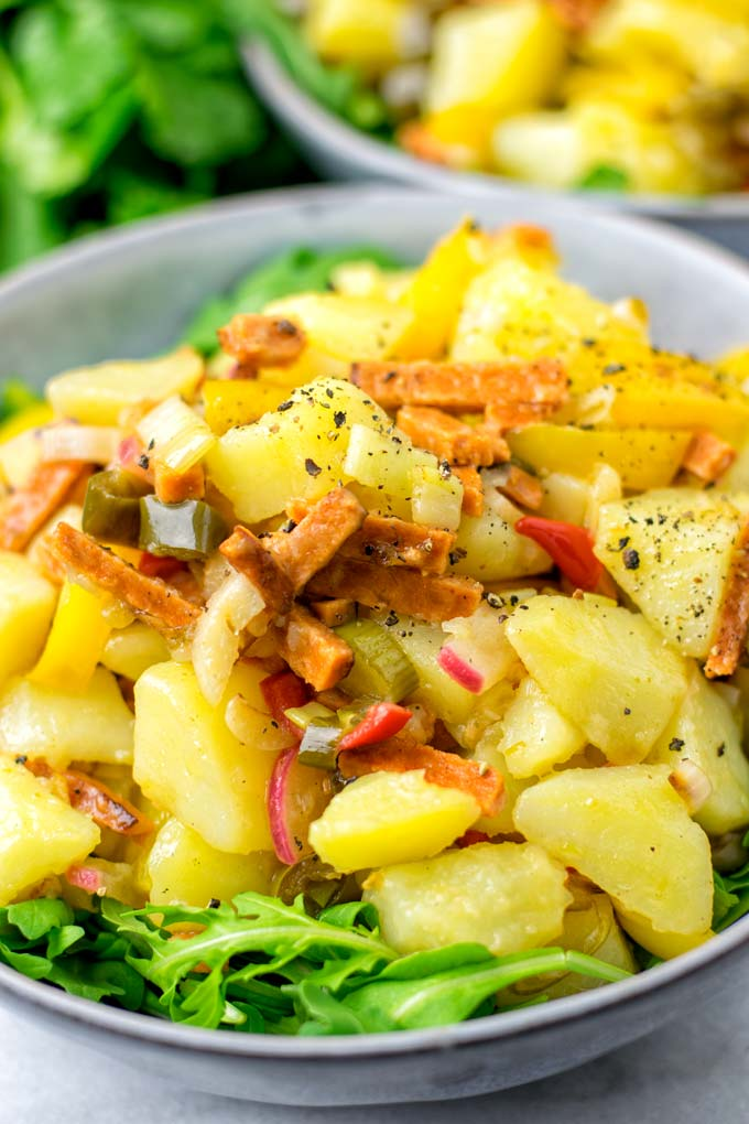 A hot potato salad is a perfect family lunch or dinner.