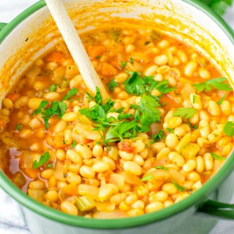 Navy Bean Soup in a large green pot.