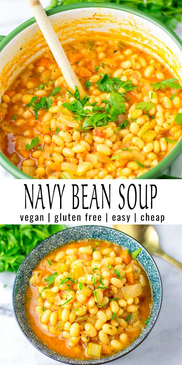 Budget friendly and so filling: this Navy Bean Soup is super easy to make and so delicious. A keeper that the whole family will love, even the pickiest kids. Vegan and gluten free. #vegan #dairyfree #glutenfree #navybeansoupvegetariian #navybeansoup #contentednesscooking #comfortfood #mealprep #dinner #lunch #onepotmeals #familymeals