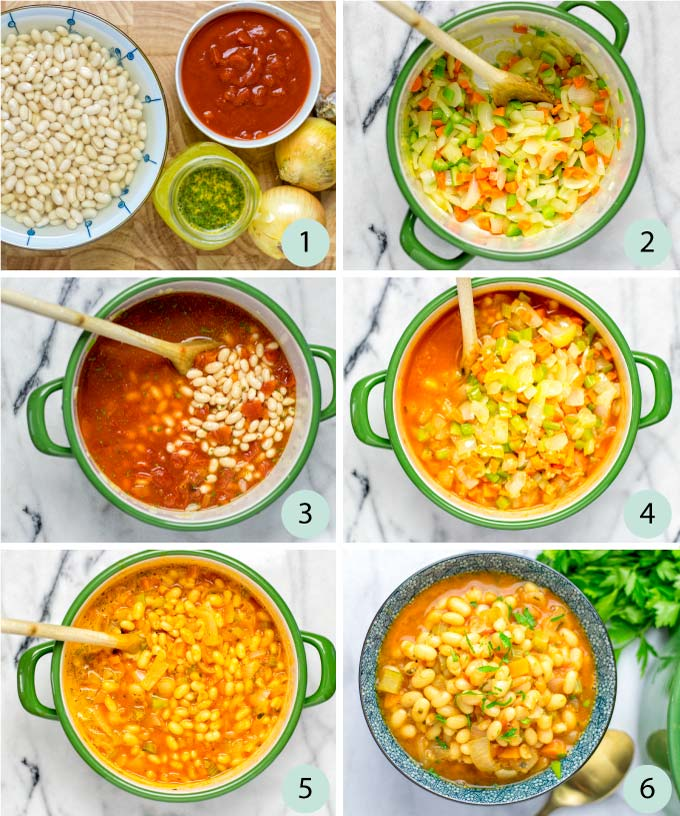 Step by step instructions how to make a Navy Bean Soup.