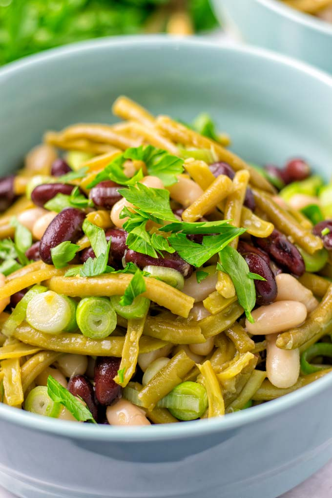 Fresh scallions give the Three Bean Salad a spicy crunch.