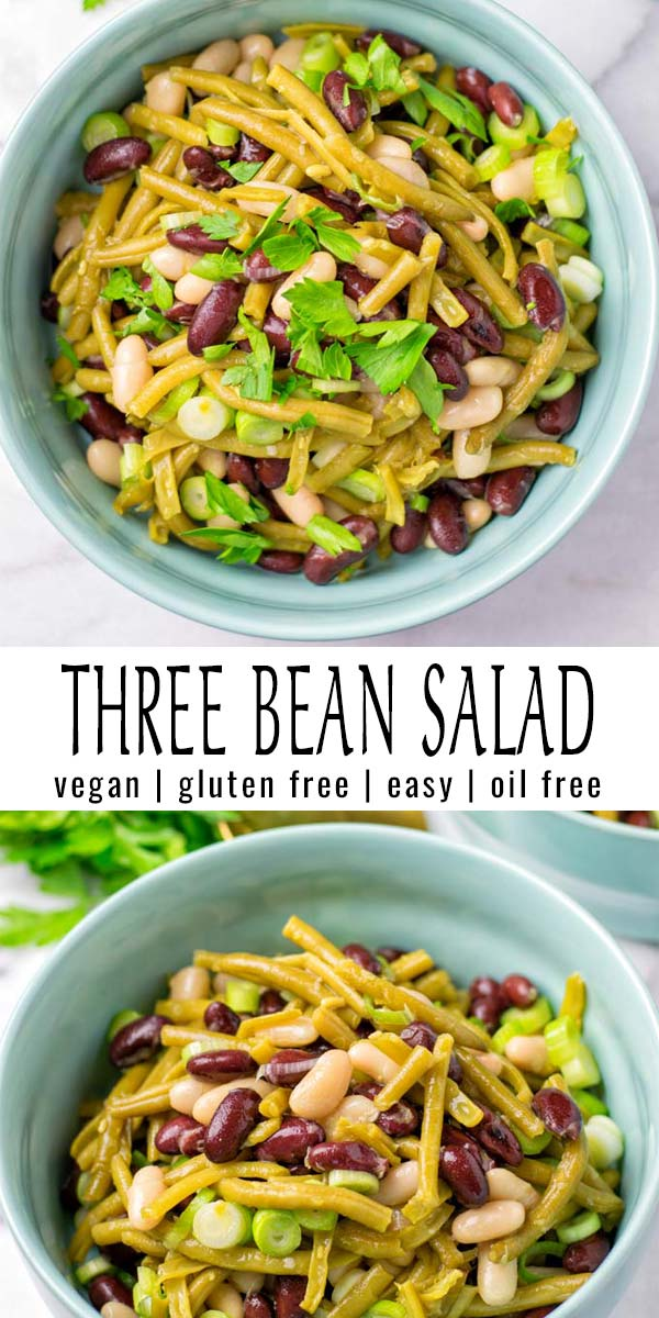 Easy and delicious this Three Bean Salad not only made with 3 sorts of beans, it also comes with the most delicious oil free dressing you've ever imagined. A keeper that is ready in under 15 minutes that the whole family will want to eat every day. #vegan #dairyfree #glutenfree #contentednesscooking #vegetarian #dinner #lunch #mealprep #oilfreesaladdressing #threebeansalad #budgetmeals