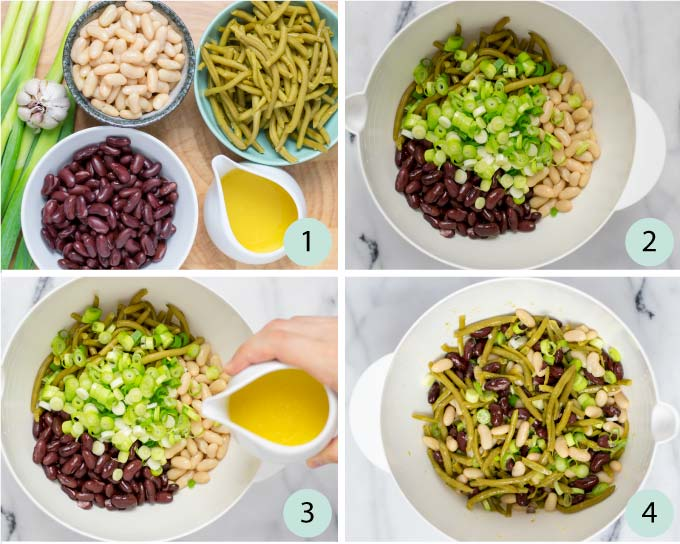 Step by step guide how to make the Three Bean Salad.