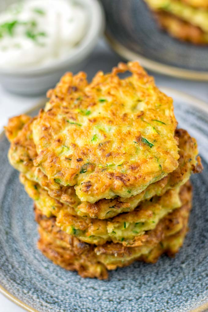 Made without eggs, these fritters are still golden and crispy.