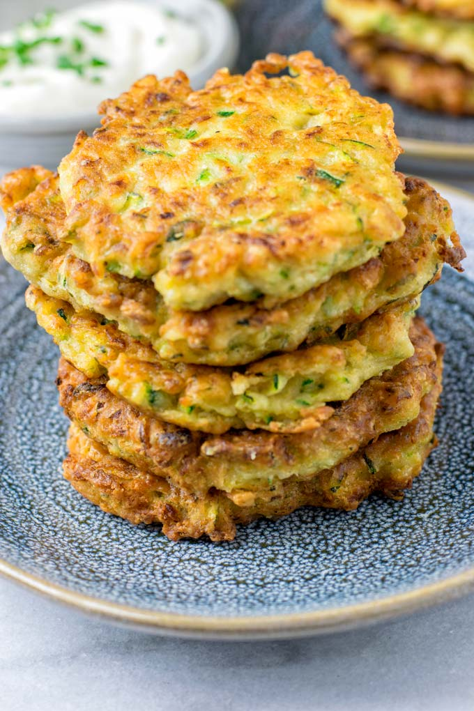 Stack of five Zucchini Fritters.