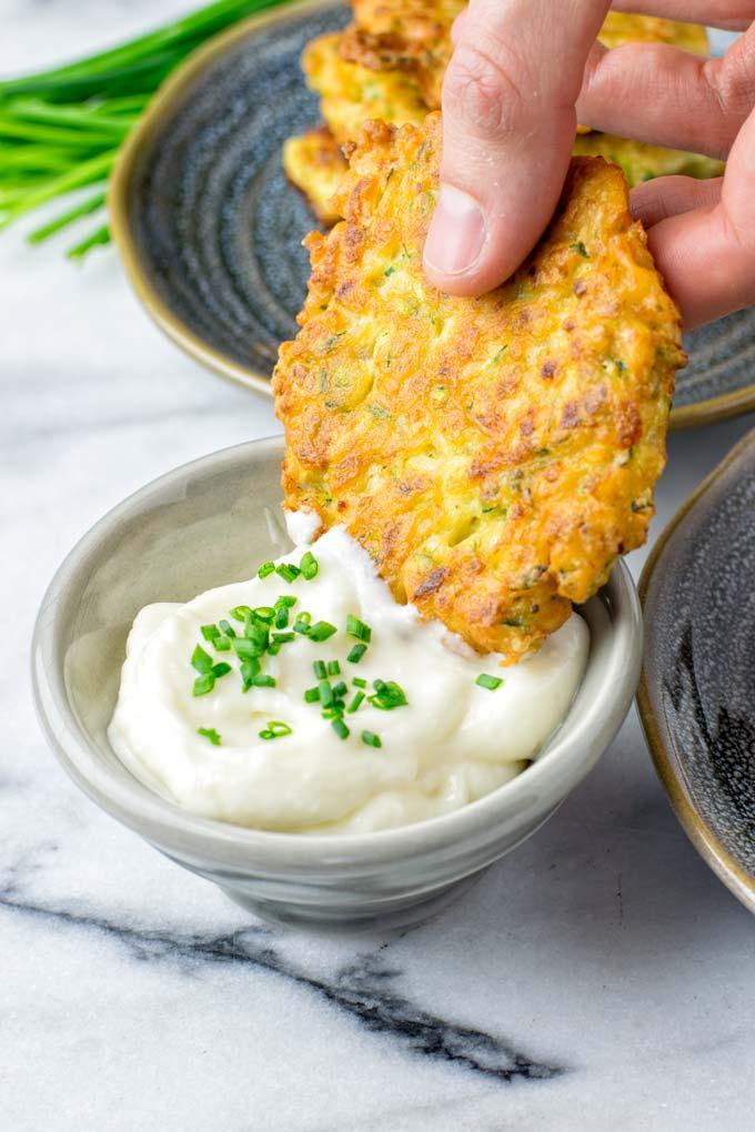 Sour cream or vegan aioli is a fantastic dip.