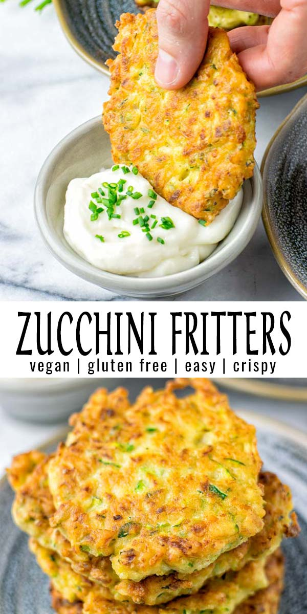 These Zucchini Fritters are easy to make with simple ingredients, eggless and so satisfying. Treat yourself to vegan fritters that are crispy and firm. No danger of falling apart! Perfect party food, lunch, or dinner. Even amazing as meal prep. #vegan #glutenfree #dairyfree #vegetarian #contentednesscooking #dinner #lunch #mealprep #comfortfood #freezermeals #zucchinifritters #kidsdinnerideas