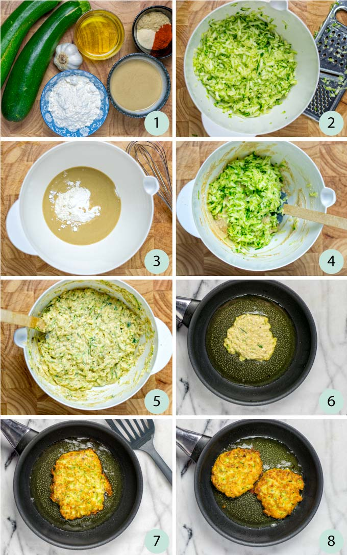 Step by step instructions how to make vegan Zucchini Fritters.