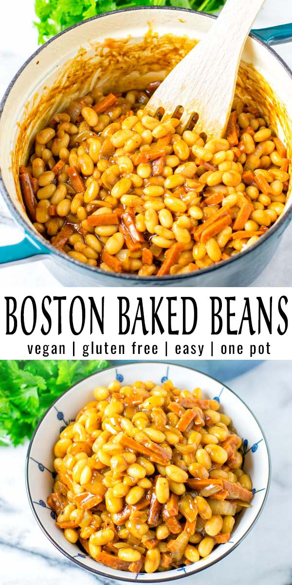 These Boston Baked Beans are packed with flavor, delicious and will surely be a family favorite in no time. No one would ever guess these are vegan, even gluten free. A keeper, filling and budget friendly. #vegan #dairyfree #glutenfree #vegetarian #budgetmeals #comfortfood #mealprep #dinner #lunch #contentednesscoooking #bostonbakedbeans