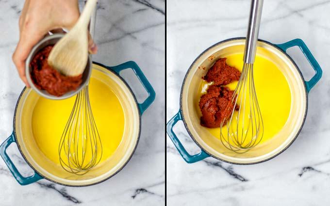 Adding the tomato paste.