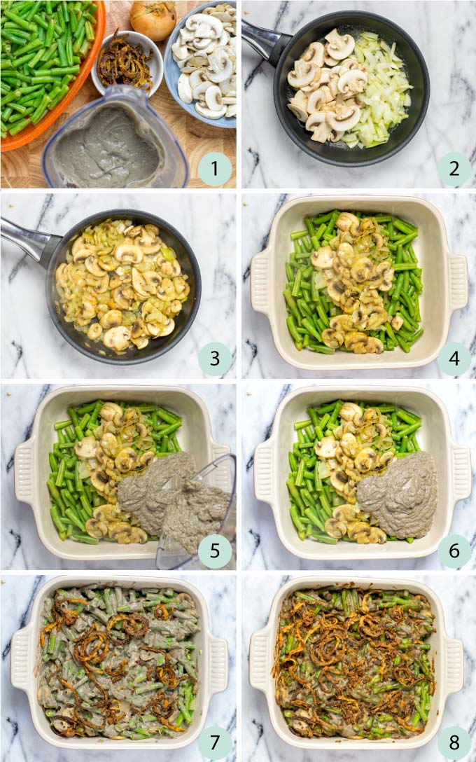 Step by step instructions how to make a Green Bean Casserole.