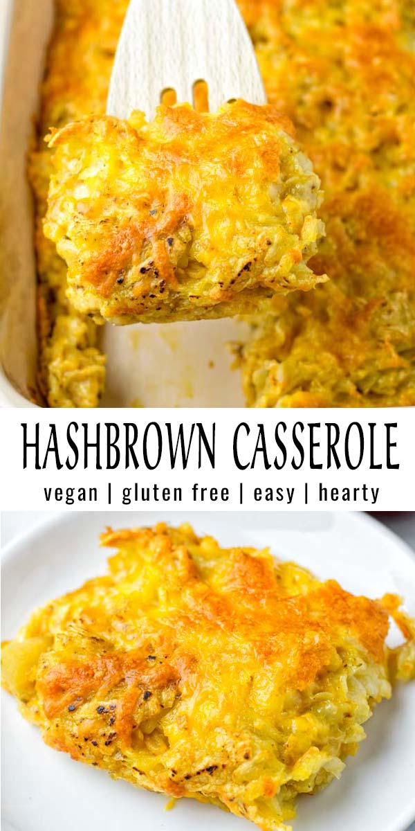 This Hashbrown Casserole is creamy, cheesy, satisfying and no one would ever tell it is entirely vegan. Tastes better than the real deal and so easy to make. Try it and wow even the pickiest eaters. #vegan #dairyfree #glutenfree #vegetarian #comfortfood #familyfavoritedinners #contentednesscooking #hashbrowncasserole #dinner #lunch #mealprep