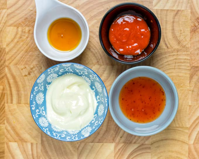 View of the four simple ingredients needed to make this vegan Bang Bang Sauce.