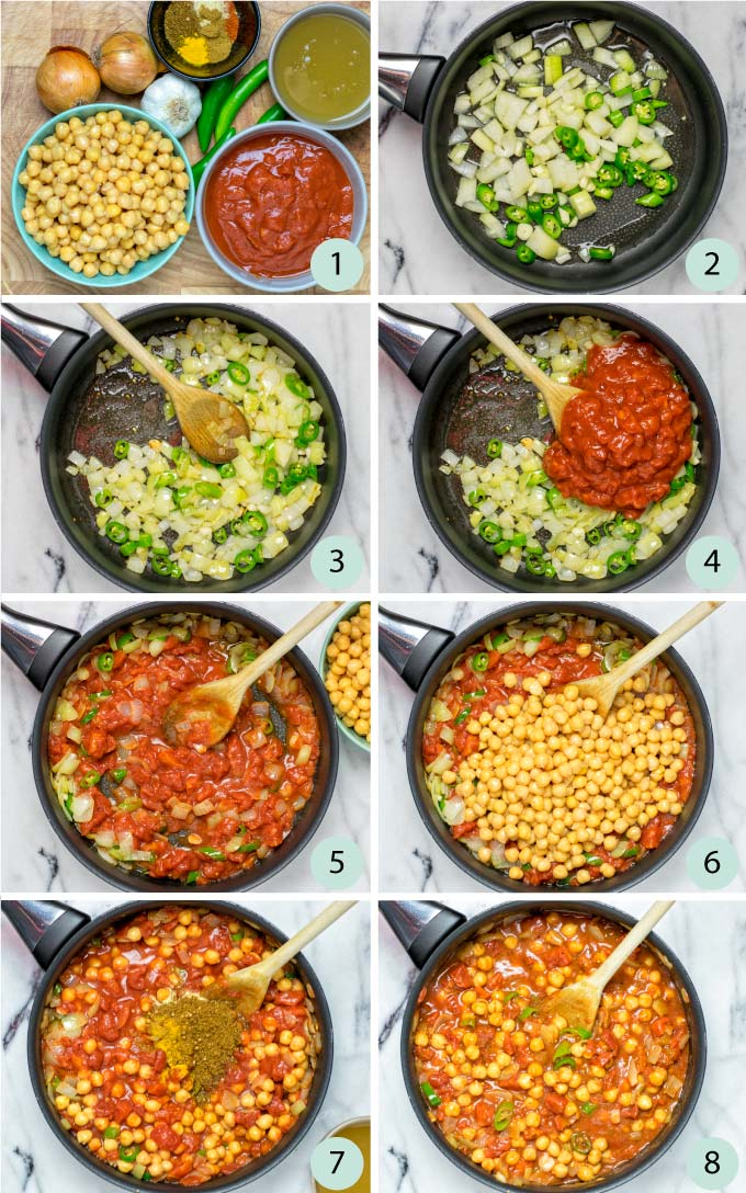 Step by step instructions how to make Chana Masala.