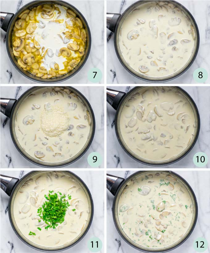 Step-by-step instructions how to make a creamy mushroom pasta.