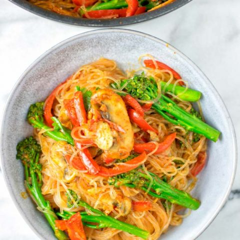 Portion of the Singapore Noodles in a small bowl.