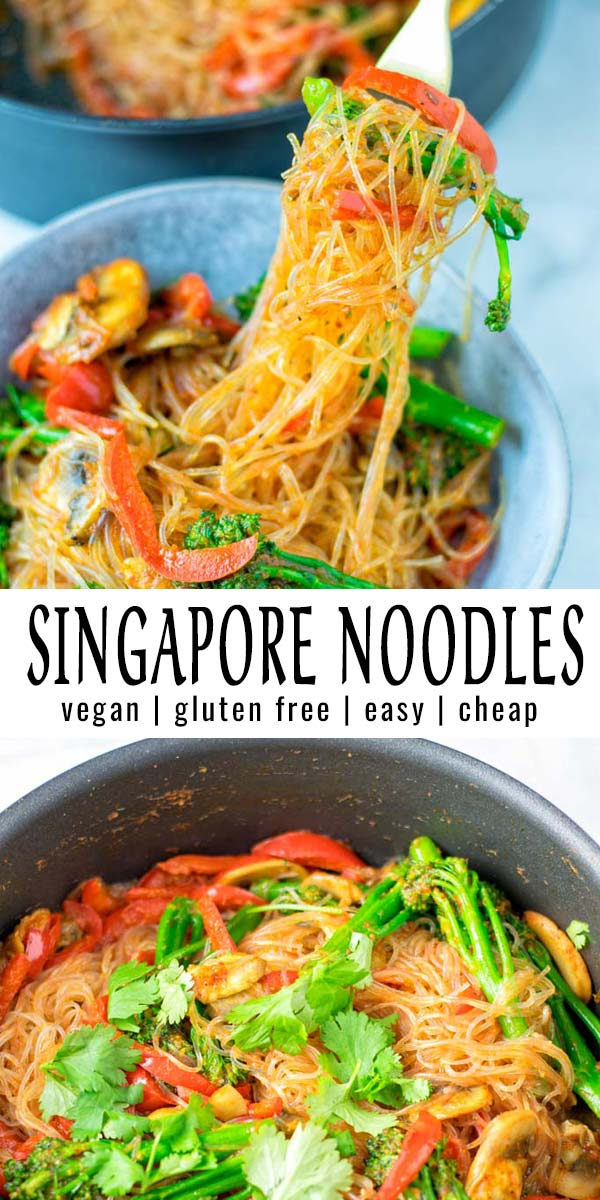 Simple and delicious these Singapore Noodles are a keeper that the whole family will love. Try them now and you won't even notice these are naturally vegan. #vegan #dairyfree #glutenfree #vegetarian #contentednesscooking #dinner #lunch #mealprep #betterthantakeout #singaporenooodles