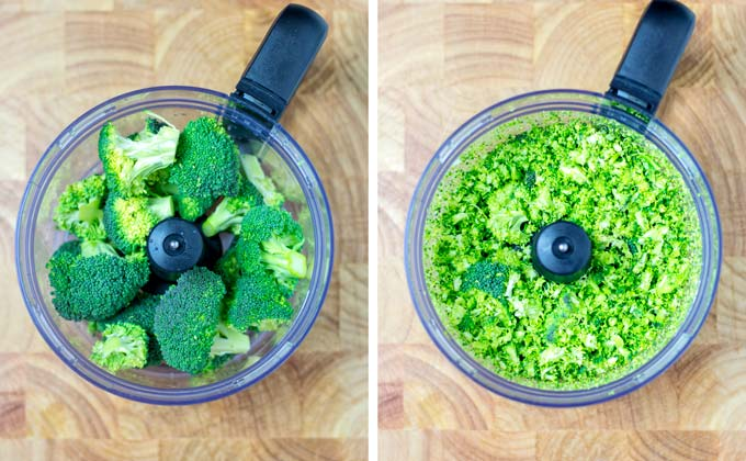 The cut Broccoli florets are given into a food processor to make the Broccoli Rice.
