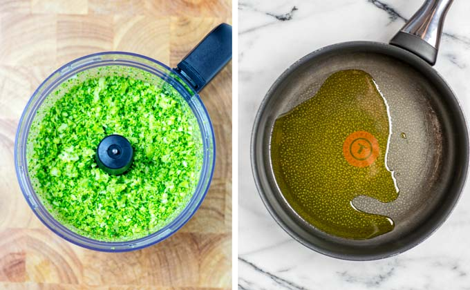 Prepare a pan with hot olive oil to prepare the Broccoli Rice.