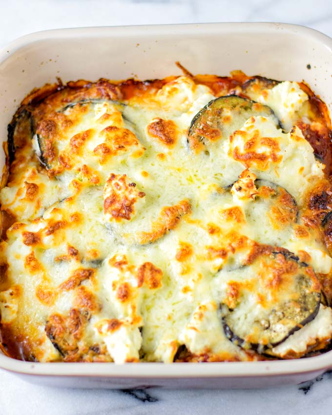 Vegan cheese makes the crust of this easy lasagna recipe.