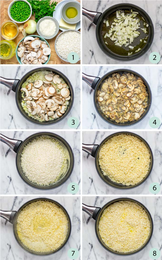 Step by step instructions how to prepare the risotto rice.