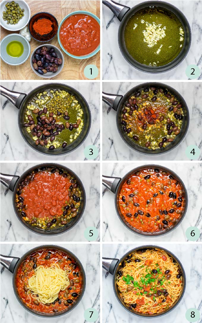 Step by step guide how to make this vegan Puttanesca Sauce