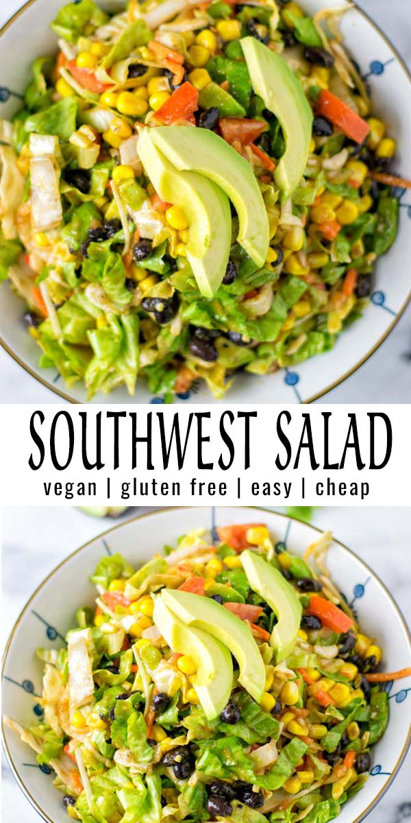Easy, fast and great for meal prep: this Southwest Salad is a keeper for dinner, lunch, potlucks and so much more, mix in the best dressing you've ever tried and it is naturally vegan. #vegan #dairyfree #vegetarian #glutenfree #dinner #lunch #mealprep #contentednesscooking #southwestsalad #southwestdressing