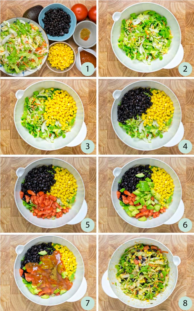 Step by step guide how to make a Southwest Salad.