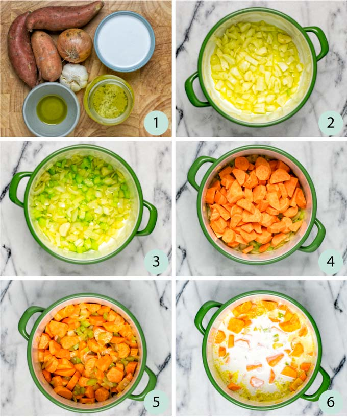 Step by step instruction pictures how to make this Sweet Potato Soup
