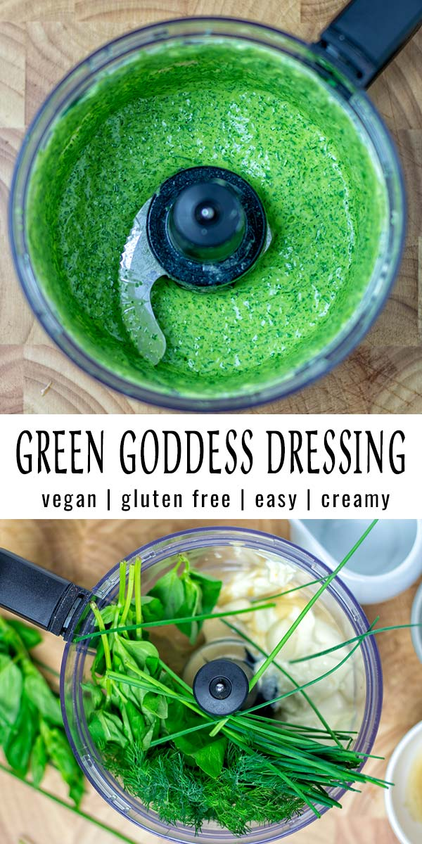 This Green Goddess Dressing is fresh, simple to make and ready in under 5 minutes. It is versatile, makes any salad better, even kids will eat salad. Naturally vegan, too. #vegan #dairyfree #glutenfree #vegetarian #dinner #lunch #mealprep #budgetmeals #contentednesscooking #condiment #greengoddessdressing