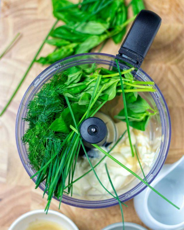 Fresh ingredients in a food processor.