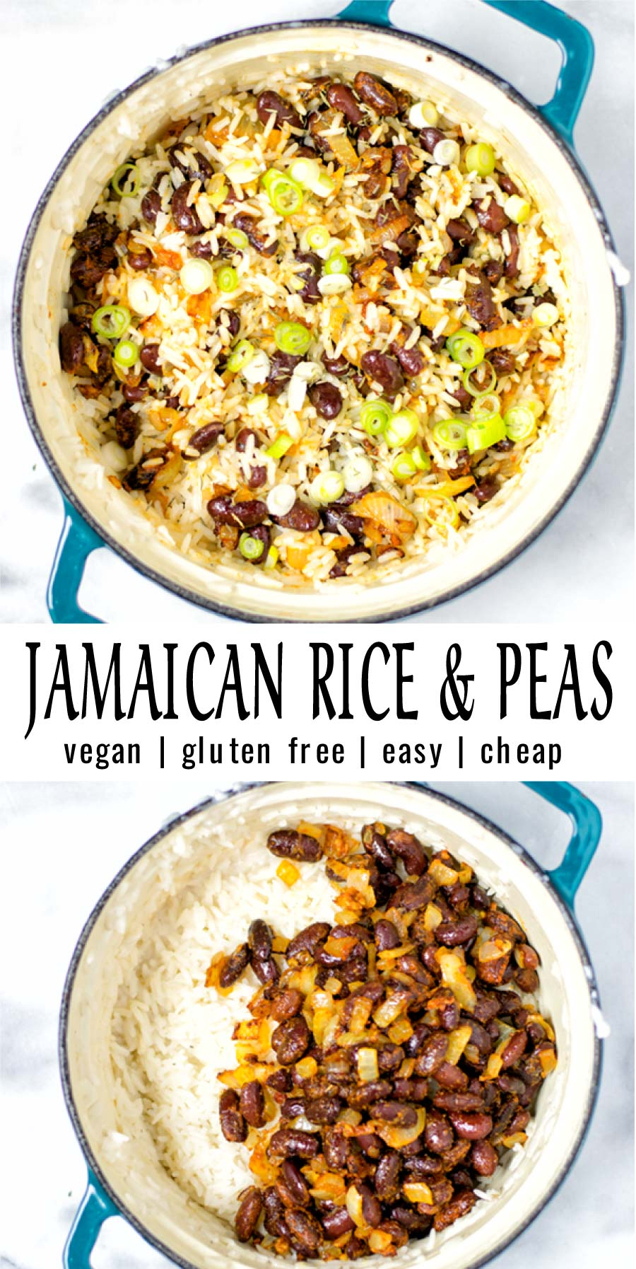 Easy and satisfying: these Jamaican Rice and Peas are easy to make and budget friendly. Naturally vegan, a keeper that everyone will count on not only for lunch, dinner also great for meal prep. #vegan #dairyfree #glutenfree #vegetarian #contentednesscooking #dinner #lunch #jamaicanriceandpeas #30minutemeals #mealprep