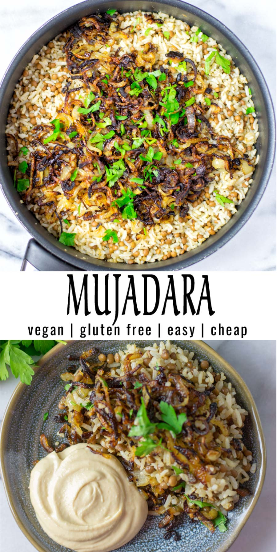 Easy and inexpensive: this Mujadara is super easy to make with simple ingredients. Full of flavor and texture that the whole family will love. Naturally vegan and seriously delicious. #vegan #dairyfree #glutenfree #vegetarian #contentednesscooking #mealprep #dinner #lunch #mujadara
