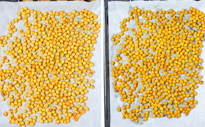 Chickpeas on a baking sheet before and after roasting.