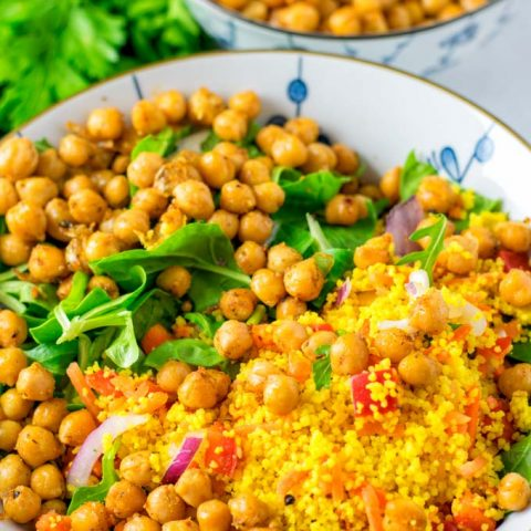 Roasted Chickpeas given over a salad.