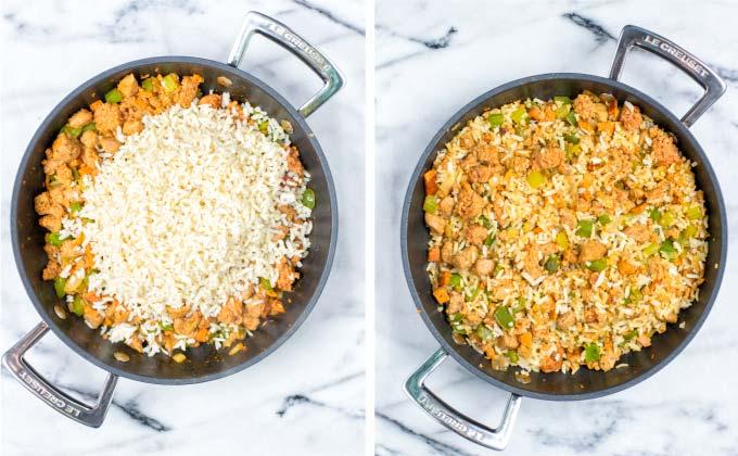 Finally, rice and seasoning make this Dirty Rice.