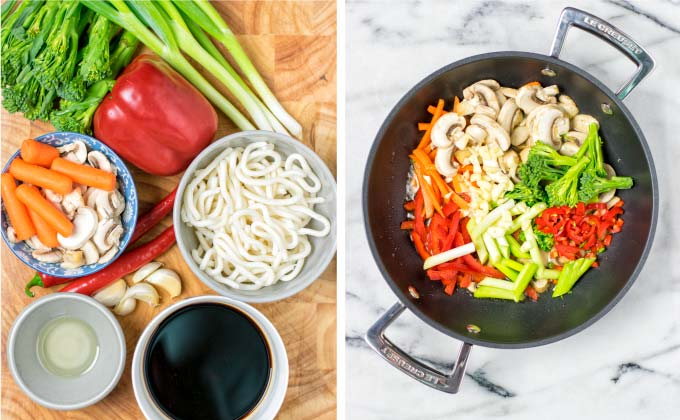 All the simple ingredients needed for these Drunken Noodles.
