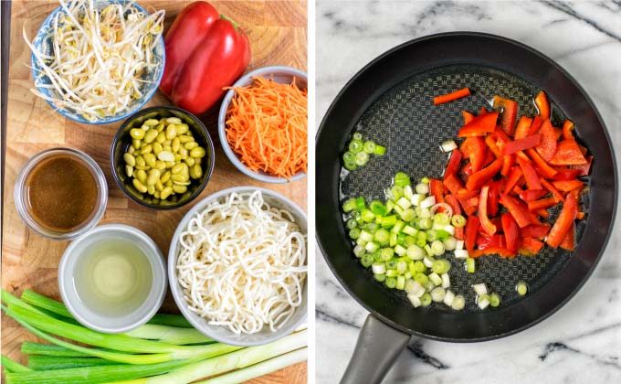 Main ingredients for this Pan Fried Noodles Recipe.