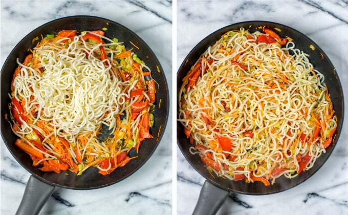 Adding leftover noodles to the pan and frying some more.