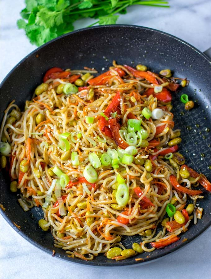 Top view of the Pan Fried Noodles in a large pan.