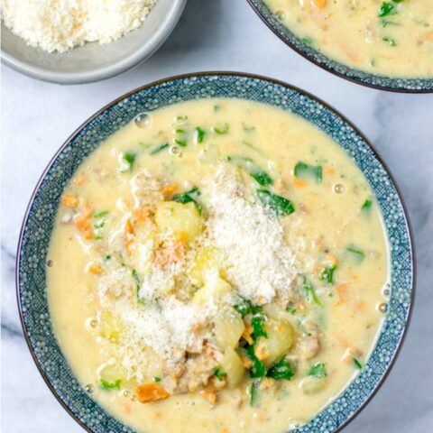 Some fresh vegan Parmesan is an amazing garnish for this Zuppa Toscana.